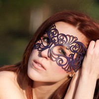 Coquette leather mask in violet by TomBanwell on Etsy