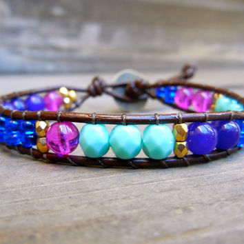 Beaded Leather Single Wrap Stackable Bracelet with Colorful Turquoise Purple Blue Magenta and Gold Glass Beads on Brown Leather