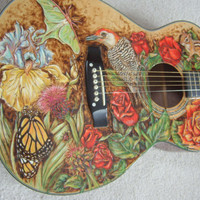 Custom Acoustic Guitar with Woodburned Nature by woodburnedangel