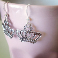 Crown Fashion Earrings in Silver