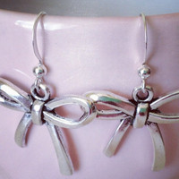 Cute Bow Dangle Earrings in Silver