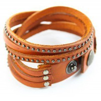 Stud Leather Orange Bracelet - Retro, Indie and Unique Fashion