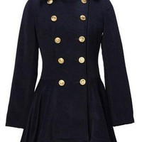 Slim Thick Woolen Double-breasted Coat Blue - Sheinside.com