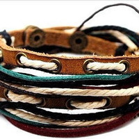 Fashion adjustable leather bracelet buckle bracelet men bracelet women bracelet Jewelry with ropes metal leather cuff bracelet SH-1764