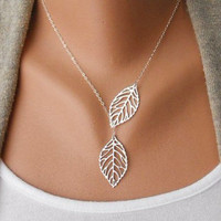 Jewelry silver leaves necklace chain necklace women necklace girls necklace made of silver leaves chain pendant necklace  XL-2518