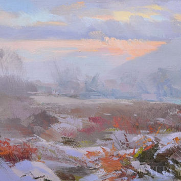 Winter landscape oil painting - Contemporary landscape art - Impressionist nature painting by Yuri Pysar