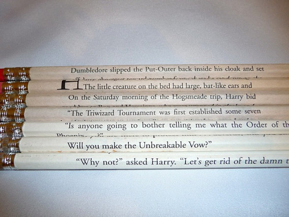 Harry Potter Books 17 Pencil Set by bouncingballcreation on Etsy