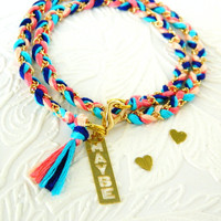 Carnival Candy Swirl - Call Me Maybe Charm - Peachy Keen, Neon Pink, Capri Blue, Rich Navy - Braided Modern Friendship Bracelet - Gold Chain
