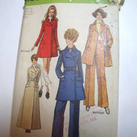 Vintage Pattern Simplicity womans coat pants size 14 1969 retro mod sewing pattern uncut factory folded
