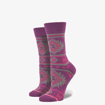 Stance Nu Native Womens Crew Socks Burgundy One Size For Women 25252732001