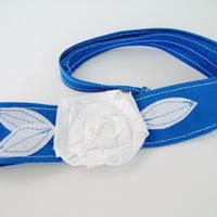 Blue with White rosette headband, head wrap, Colts, Kentucky, NB Unicorns,  | Our Place To Nest