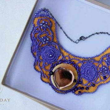 Orange blue beaded necklace, Embroidered necklace, Collar necklace, New ethno jewelry, Jewellery for dressUnique necklace, Woman gift,