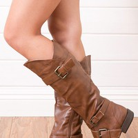 Bamboo Montage06 Chestnut Strappy Flat Knee Boots shop Boots at MakeMeChic.com