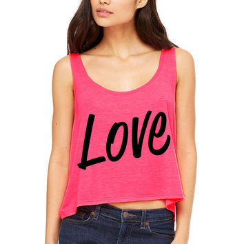 Neon Pink Cropped Tank Top - Love - Valentine's Day