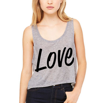 Grey Cropped Tank Top - Love - Valentine's Day
