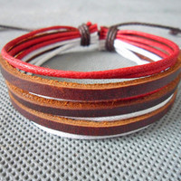 jewelry bangle leather bracelet ropes bracelet made of  hemp Rope and three brown leather wrist bracelet SH-0393