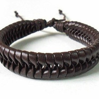 jewelry bangle leather bracelet women bracelet men bracelet made of brown leather woven wrist bracelet SH-0193