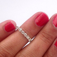 Stackable Tiny Rhinestones Above The Knuckle Ring - Silver Rhinestone Knuckle Rings -  by Tiny Box -