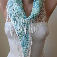 New - Green Flowered Scarf with White Trim Edge Shaped Flower - Spring Trend -