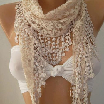 Beige / Elegance  Shawl / Scarf with Lacy Edge