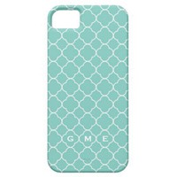 Quatrefoil clover pattern blue teal 3 monogram iphone 5 cases from Zazzle.com