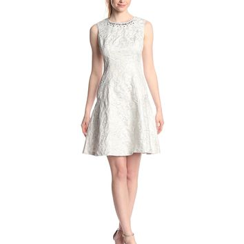 Maggy London Women's Novelty Metallic Swirl Fit and Flare Party Dress, Ivory/Silver, 2