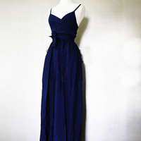 2 Piece Silk Maxi Skirt with Wrap Blouse in Deep Royal Blue