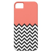 Coral Pink Peach Color Block Chevron iPhone 5 Case from Zazzle.com