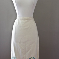 Embroidered Ivory Wool Pencil Skirt  - Flower Ribbon Design