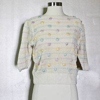 Knit Sweater Top - SILK WOOL High end cropped blouse