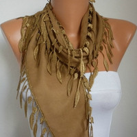 Dark Camel Scarf  -  Pashmina Scarf  - Cowl Scarf  with Lace Edge    - fatwoman
