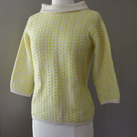 1950s Yellow Wool Boat Neck Sweater - Striped and Polka Dots