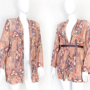 80s Drapey Oversized Aztec Print Jacket in Painted Desert Hues -Women's Vintage Crinkled Drapey Southwestern Blazer - Long Baggy Plus Size