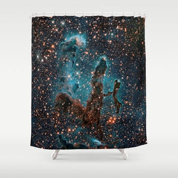 Midnight Blue & Copper Stars Space Galaxy Print (Warm) Shower Curtain by 2sweet4words Designs