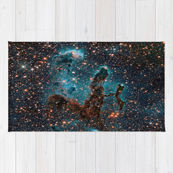 Midnight Blue & Copper Stars Space Galaxy Print (Warm) Rug by 2sweet4words Designs