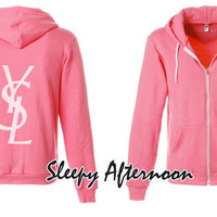 White YSL - American Apparel Unisex Hoodie -  Neon Pink