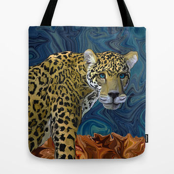 Leopard with the Sky in His Eyes Tote Bag by Distortion Art