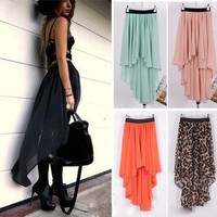 Women Chiffon Sexy Elegant Asymmetric Long Maxi Skirt Elastic Waist Band 9 Color