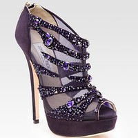 Jimmy Choo - Kiln Crystal-Covered Mesh and Suede Ankle Boots - Saks.com