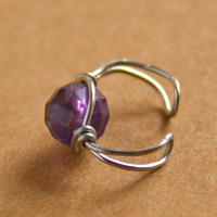 Amethyst Purple Ear Cuff Wire Wrapped Silver Tone Cuff