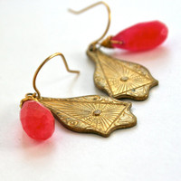 Pink Jade Earrings with Sophisticated Gold Art Nouveau Flare Hand Wire Wrapped