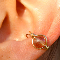 Sunstone Round Ear Cuff Gold Wire Wrap Orange Ear Cuff