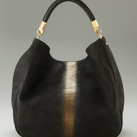 Yves Saint Laurent - Roady Ostrich-Stamped Hobo - Bergdorf Goodman