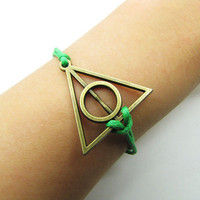 Antique Brass Harry potter Deathly Hallows Green Rope Bracelet women ropes bracelet Men rope bracelet  1204S