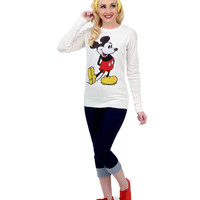 Ivory Long Sleeve Mickey Mouse Knit Graphic Sweater