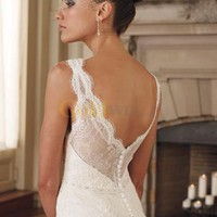 [US$235.99] Grace Sheath V-Neck Embroidery Satin Lace Wedding Dress