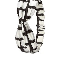 Checked Print Knotted Head Wrap by Charlotte Russe - Black/White