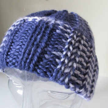 100% Baby Alpaca Knit Watch Cap, Hat, Blue Periwinkle Ombre, Men or Women, Unisex, Handmade