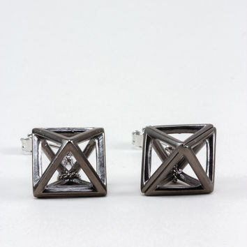 Hematite Hollow Octahedron Dangling Earrings - One