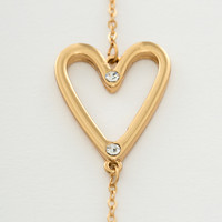 Gold Heart Necklace - Clear - One